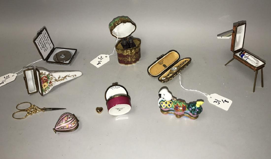 8 Limoges porcelain boxes each with interior items, - 2