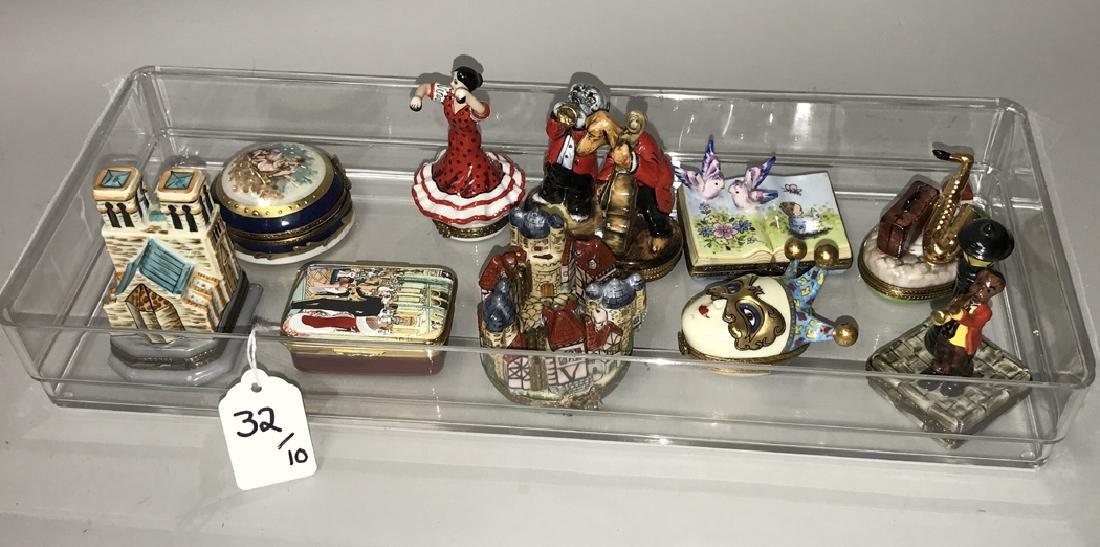 10 Limoges porcelain boxes, tallest dog band (3 1/2h)