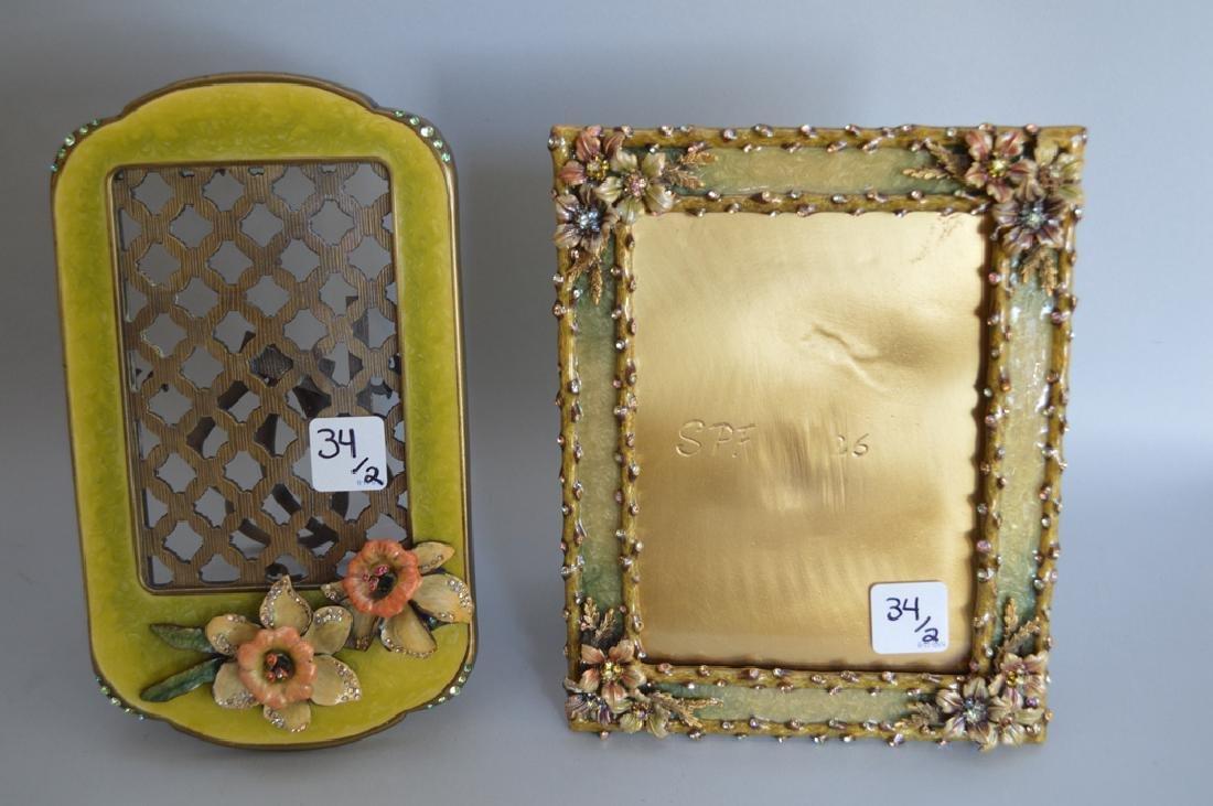 2 Jay Strongwater enamel & jeweled frames, one frame