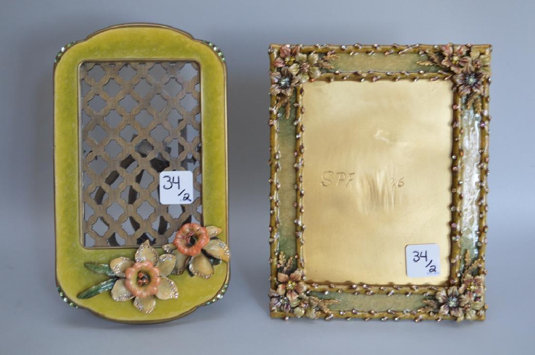 2 Jay Strongwater enamel & jeweled frames, one frame - 7
