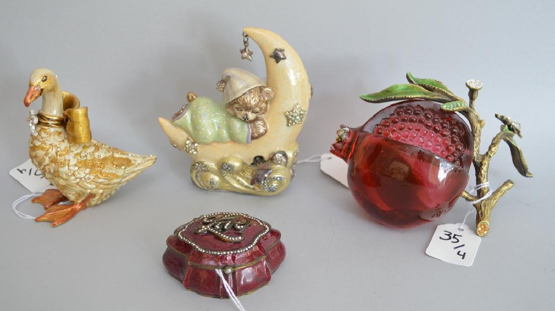 4 pieces Jay Strongwater, glass, bronze & enamel fruit