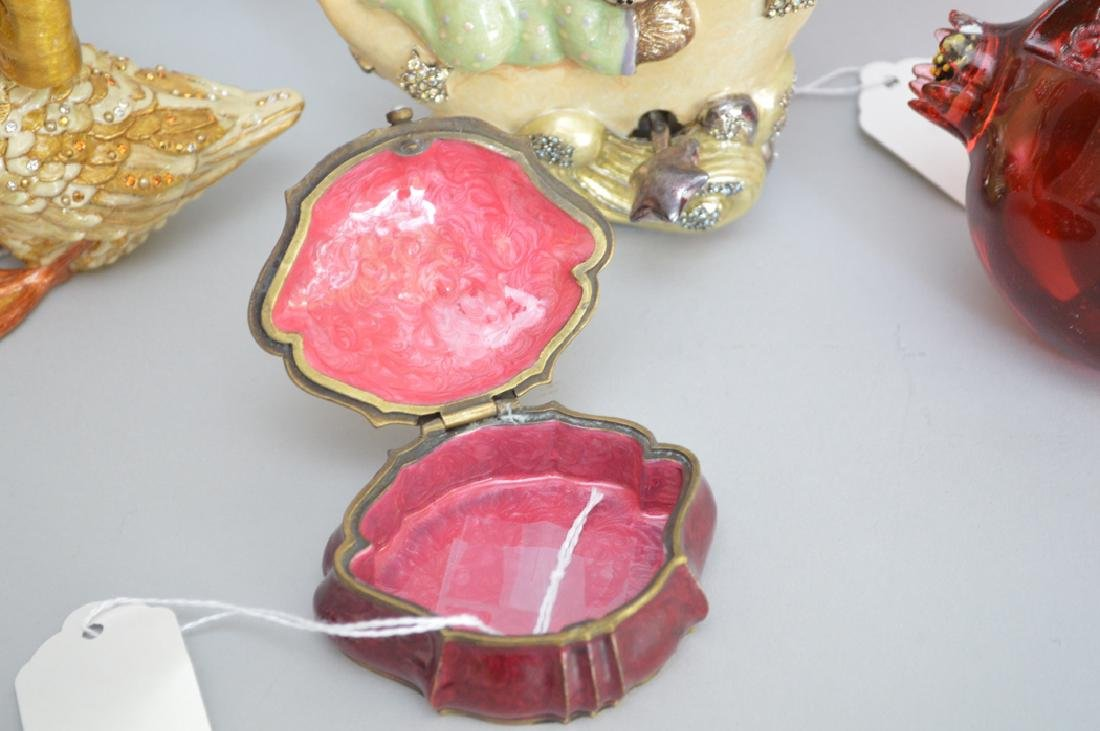 4 pieces Jay Strongwater, glass, bronze & enamel fruit - 4