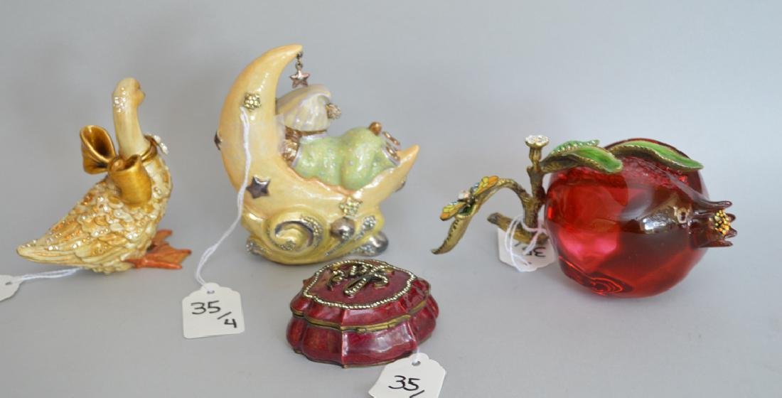 4 pieces Jay Strongwater, glass, bronze & enamel fruit - 5