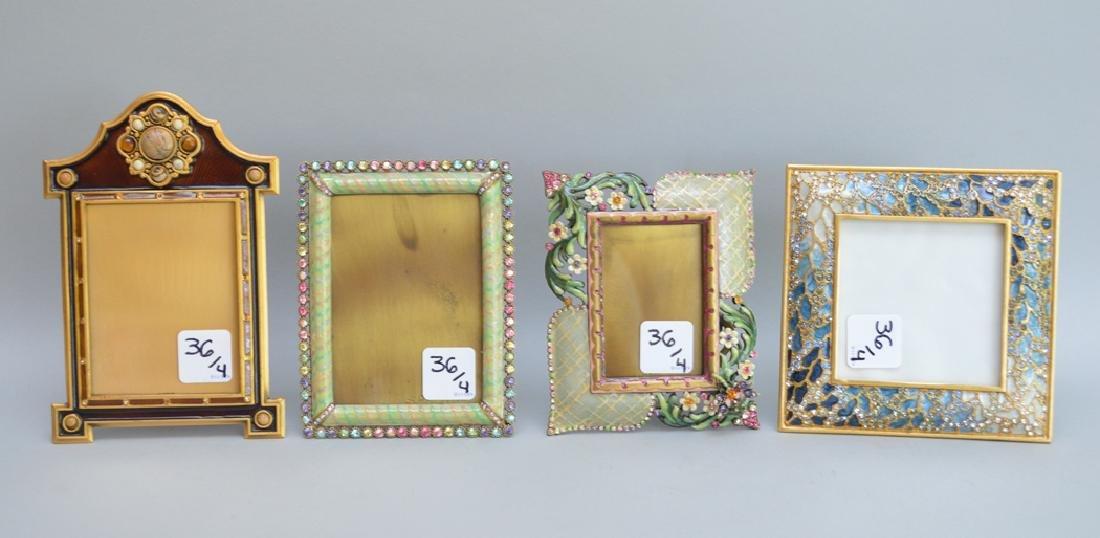 4 Jay Strongwater enamel frames, each frame is signed