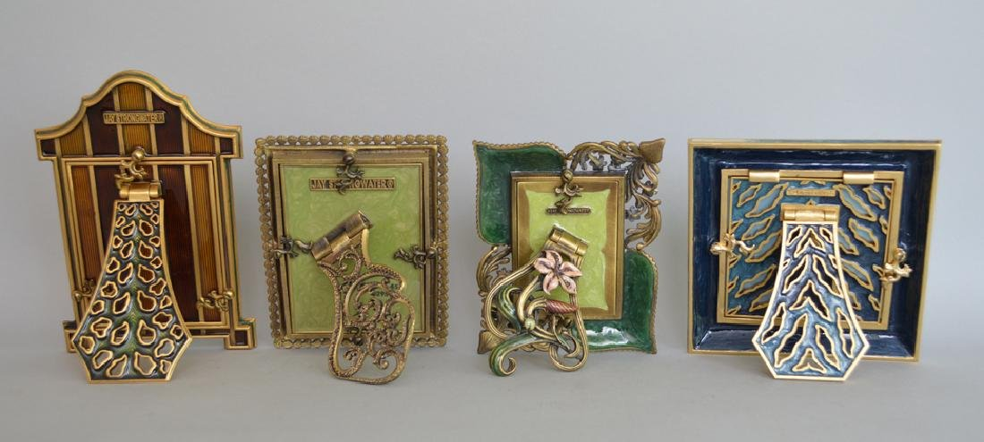 4 Jay Strongwater enamel frames, each frame is signed - 5