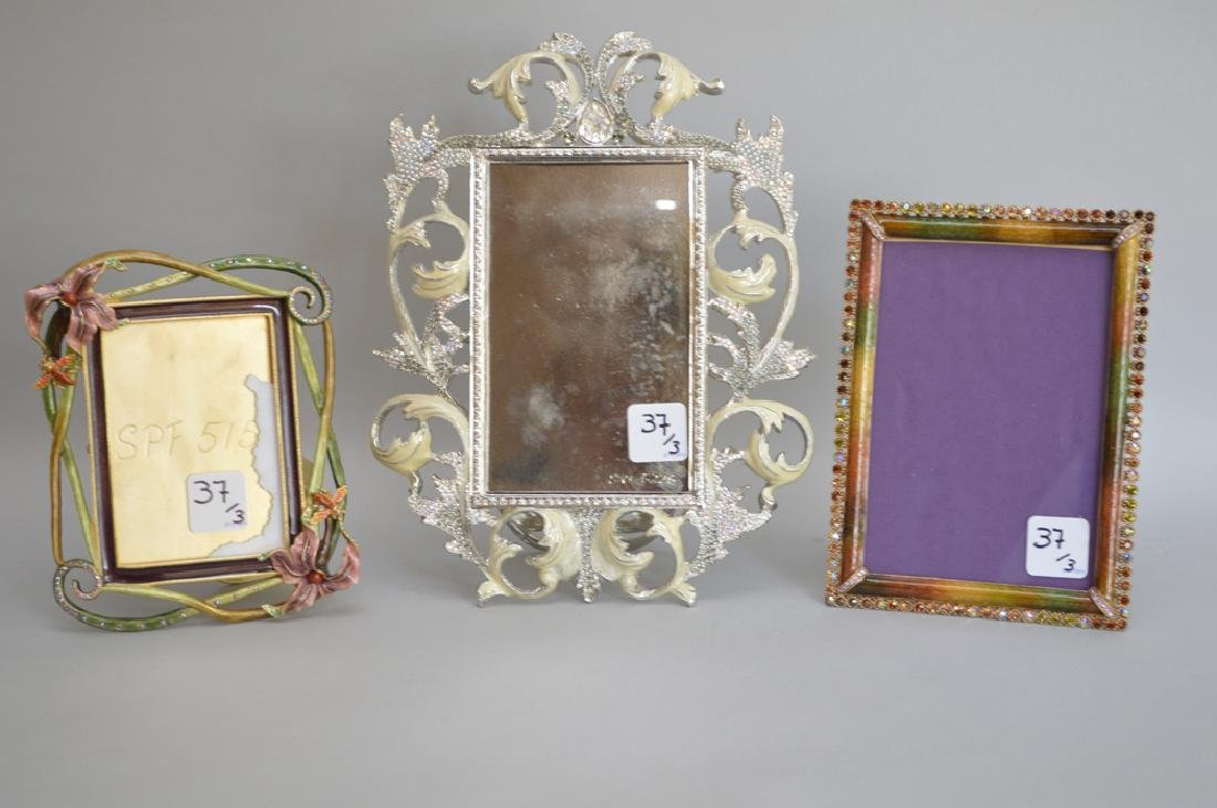 3 Jay Strongwater enamel frames, each signed, largest