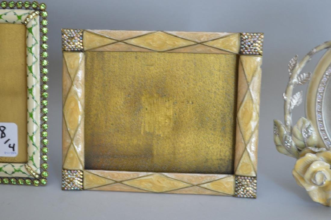 4 Jay Strongwater enamel frames, each signed, frame - 3