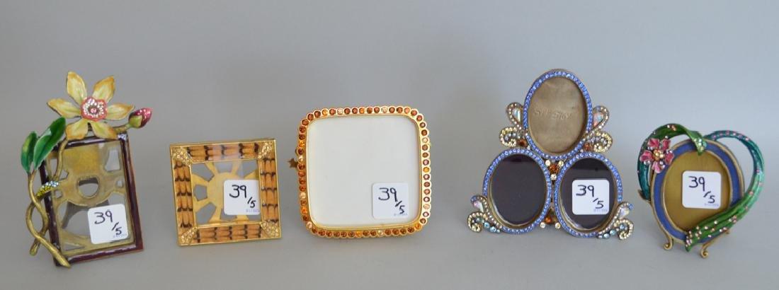 5 Jay Strongwater enamel frames, each signed, triple