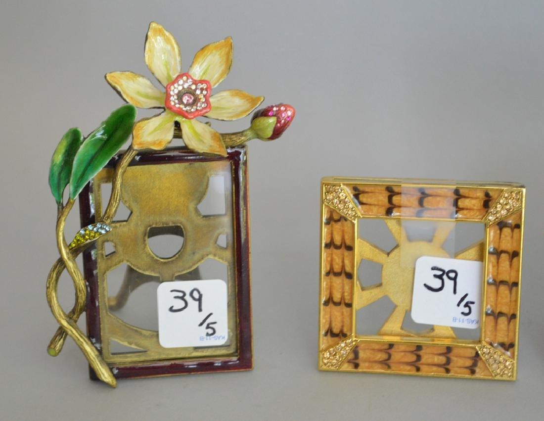 5 Jay Strongwater enamel frames, each signed, triple - 3