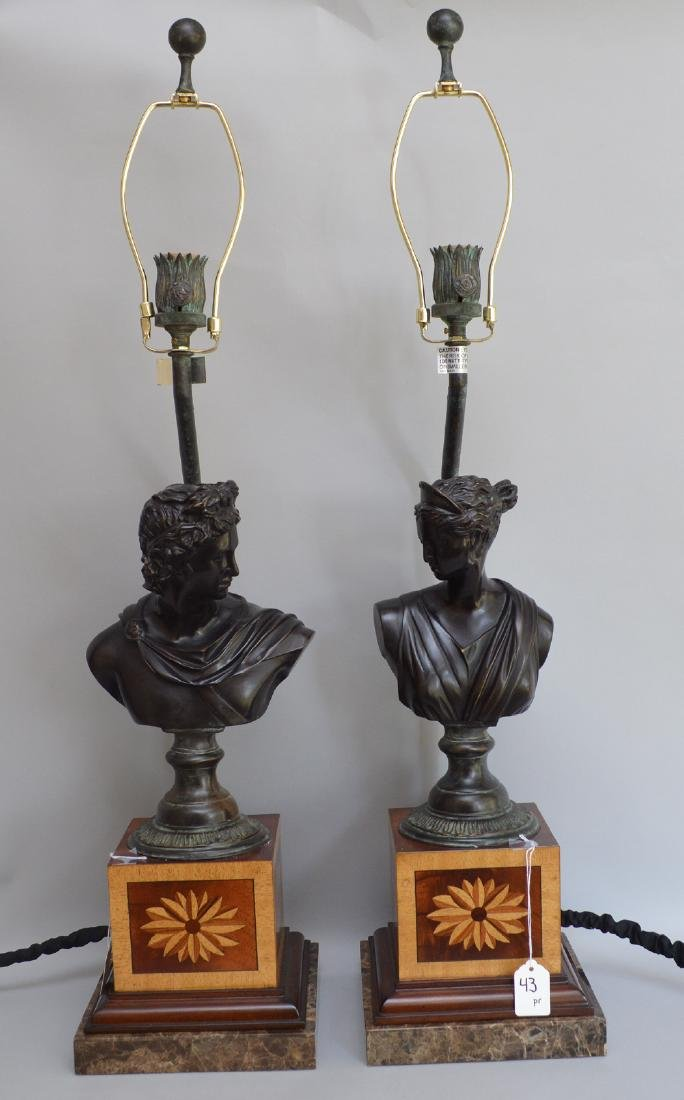 Pair bronze bust male & female lamps, inlaid bases,