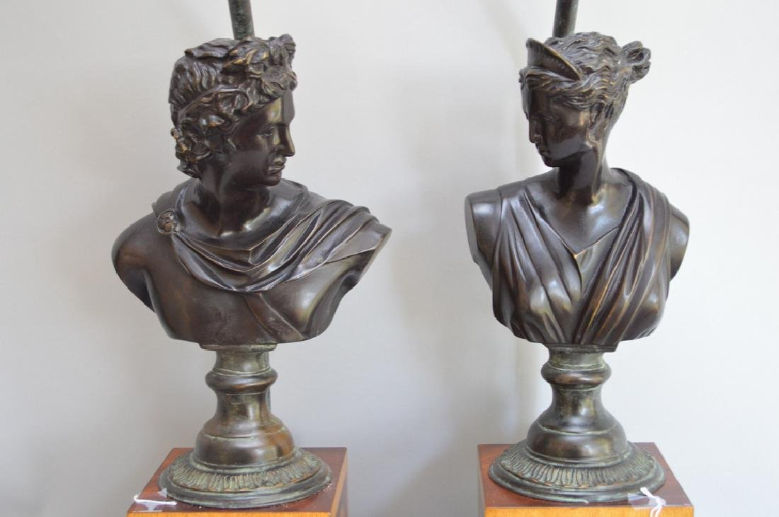 Pair bronze bust male & female lamps, inlaid bases, - 2