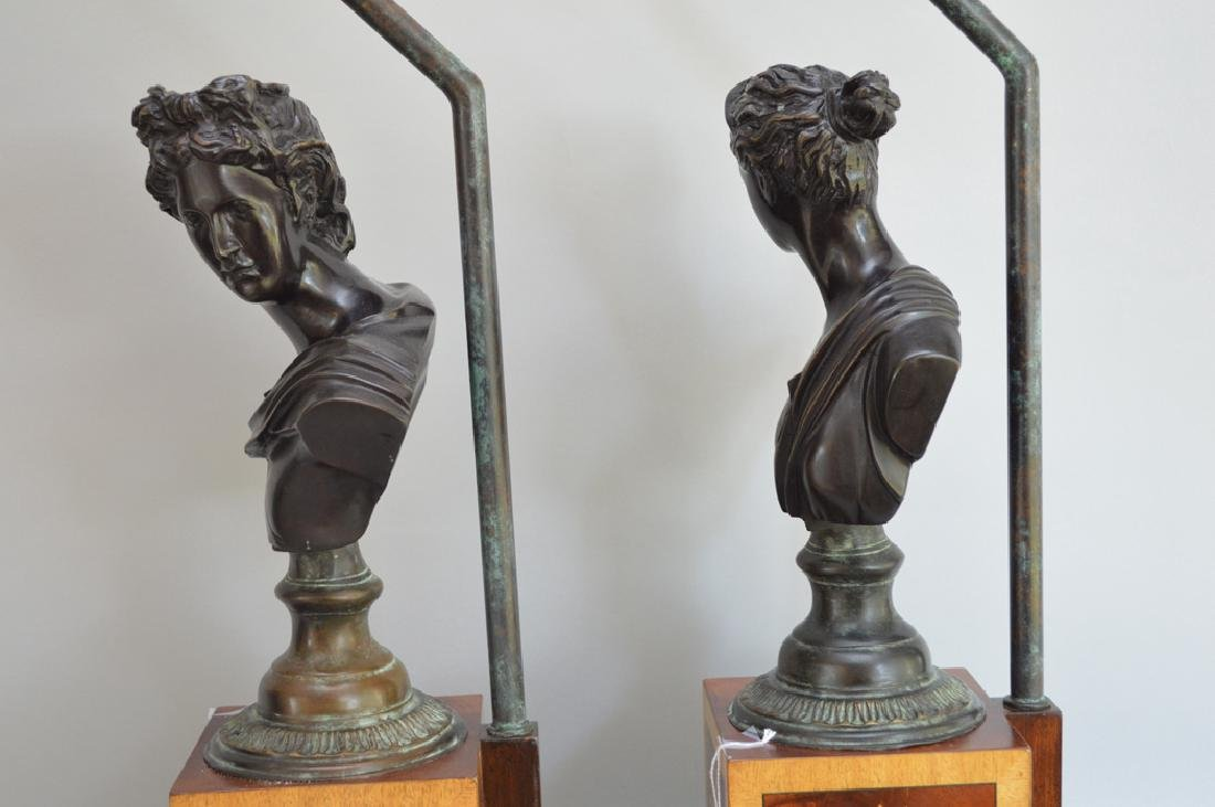 Pair bronze bust male & female lamps, inlaid bases, - 6