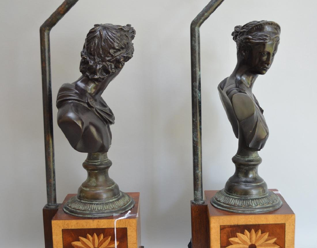 Pair bronze bust male & female lamps, inlaid bases, - 7