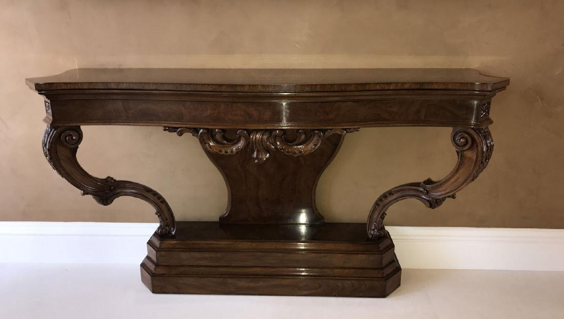 Karges mahogany console, 34 1/2h x 62w x 19 1/2d (one