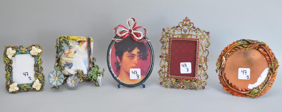 5 Jay Strongwater enamel frames, each signed, tallest 6