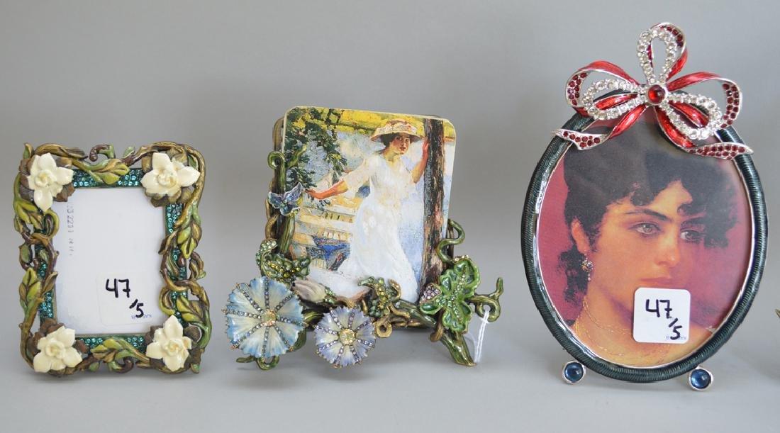 5 Jay Strongwater enamel frames, each signed, tallest 6 - 3