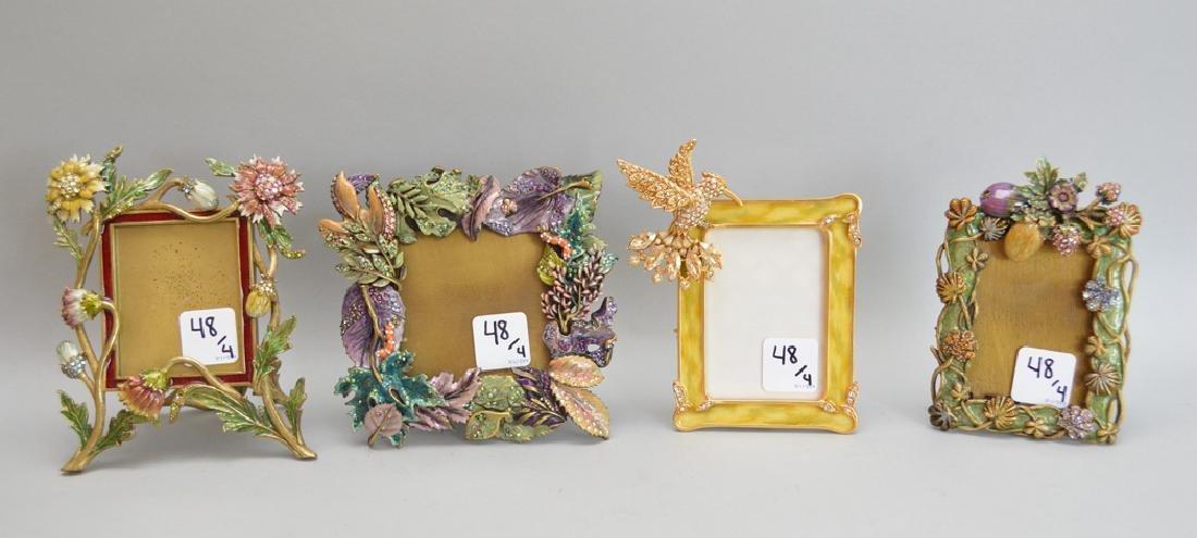 4 Jay Strongwater enamel frames, each signed, tallest
