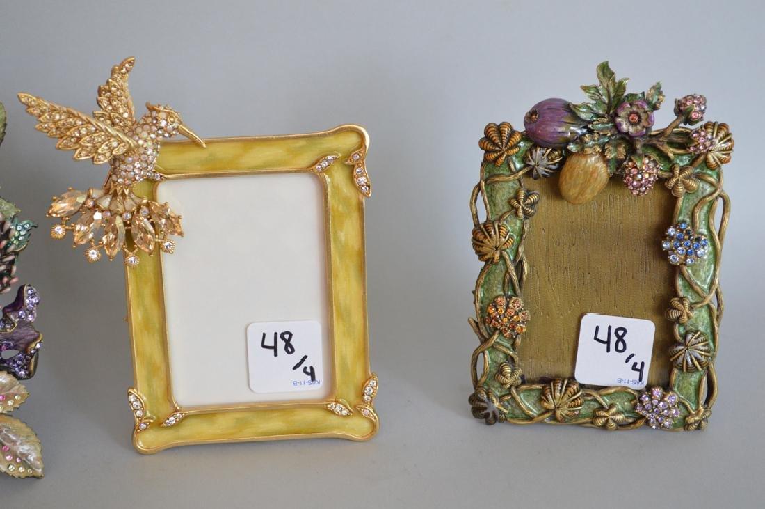 4 Jay Strongwater enamel frames, each signed, tallest - 3