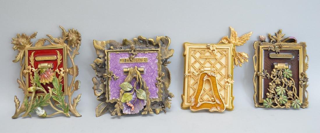 4 Jay Strongwater enamel frames, each signed, tallest - 4