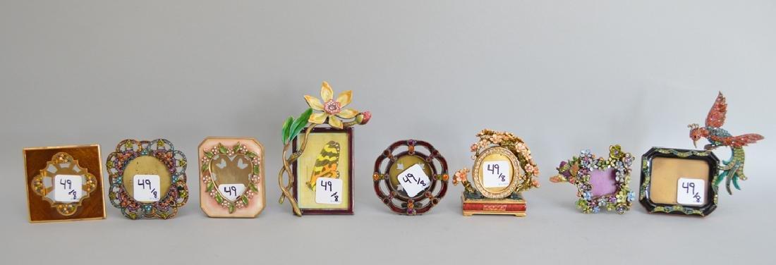 8 Jay Strongwater enamel frames, each signed, tallest