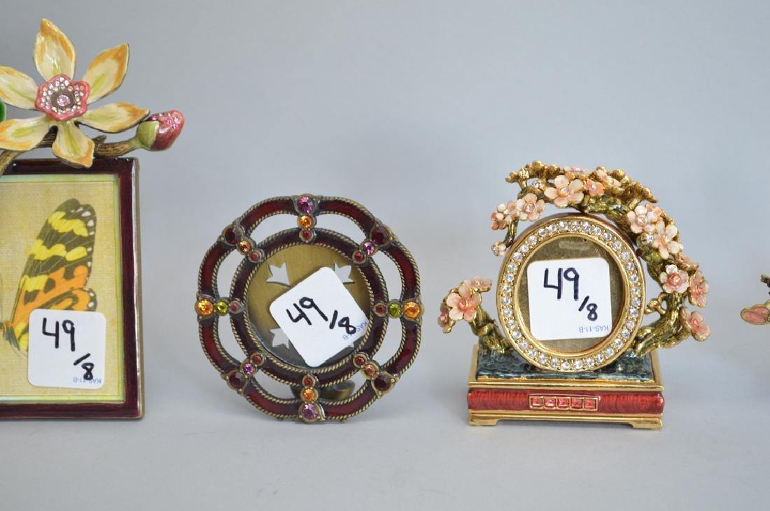 8 Jay Strongwater enamel frames, each signed, tallest - 4