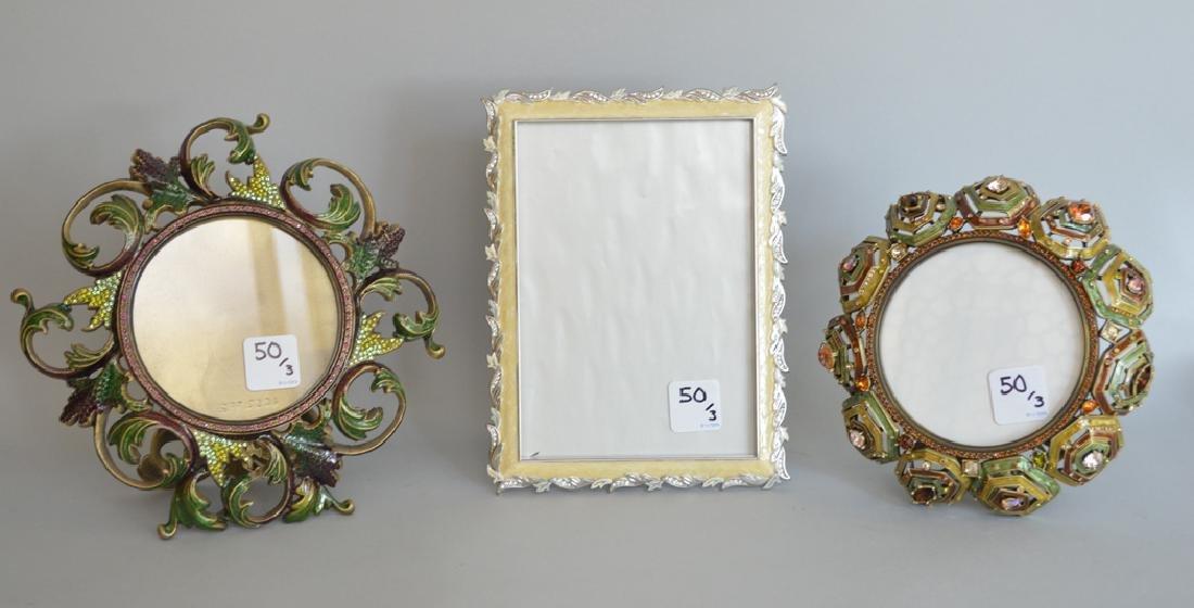 3 Jay Strongwater enamel frames, each signed,
