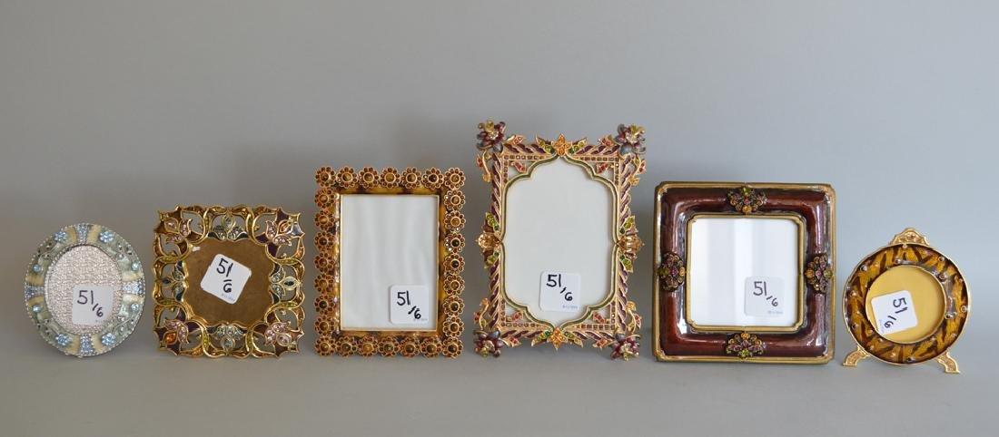 5 Jay Strongwater enamel frames, each signed, tallest