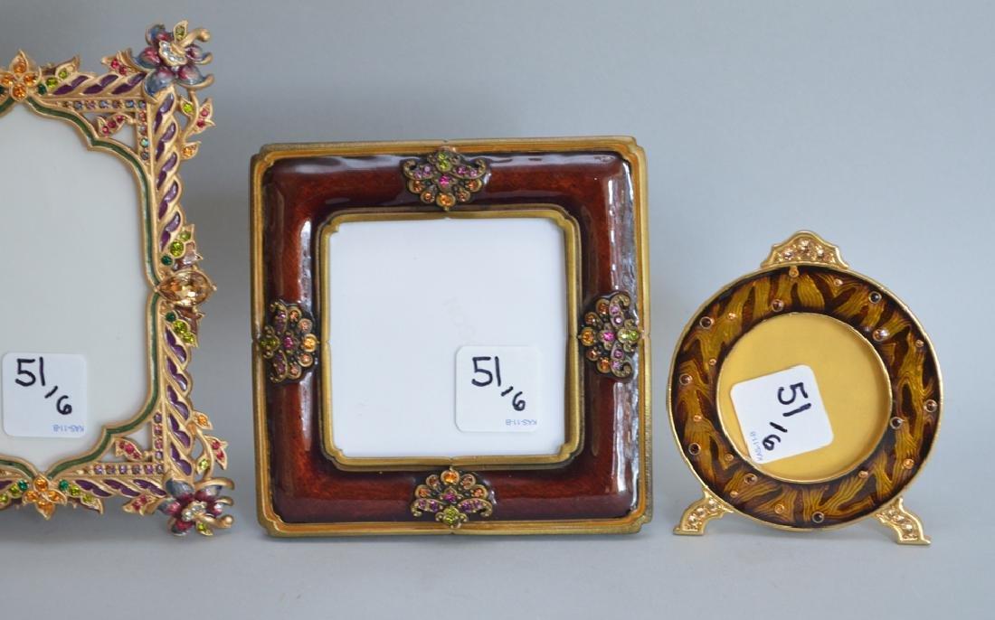 5 Jay Strongwater enamel frames, each signed, tallest - 2