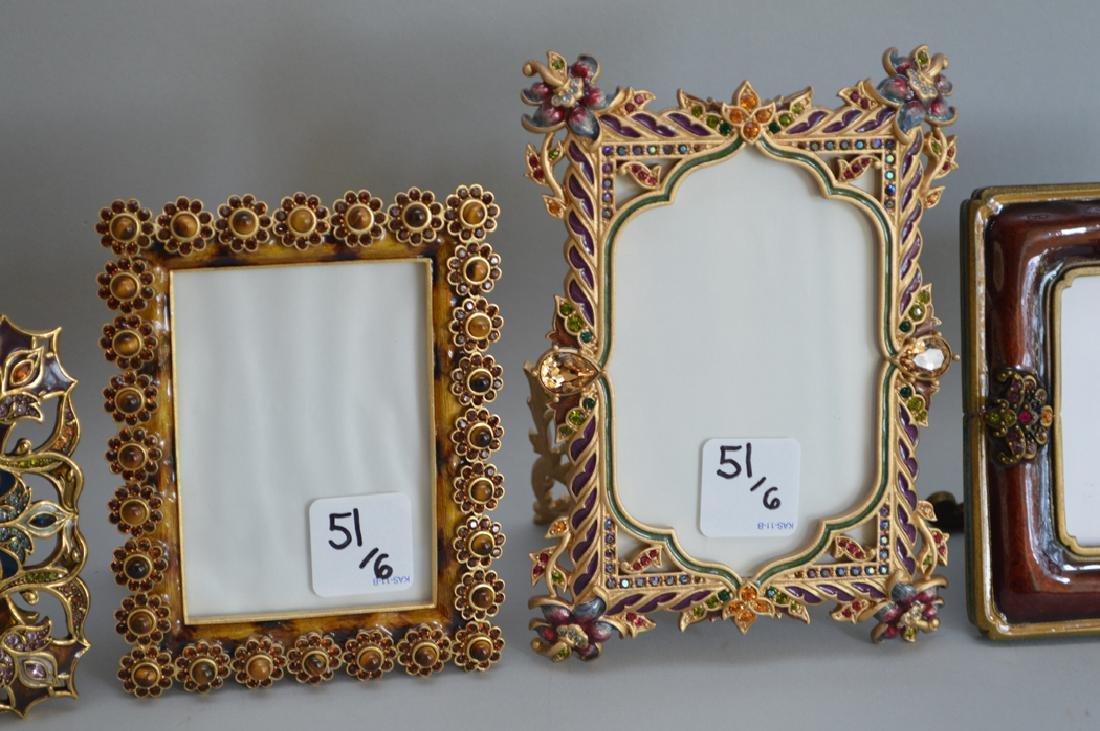 5 Jay Strongwater enamel frames, each signed, tallest - 3