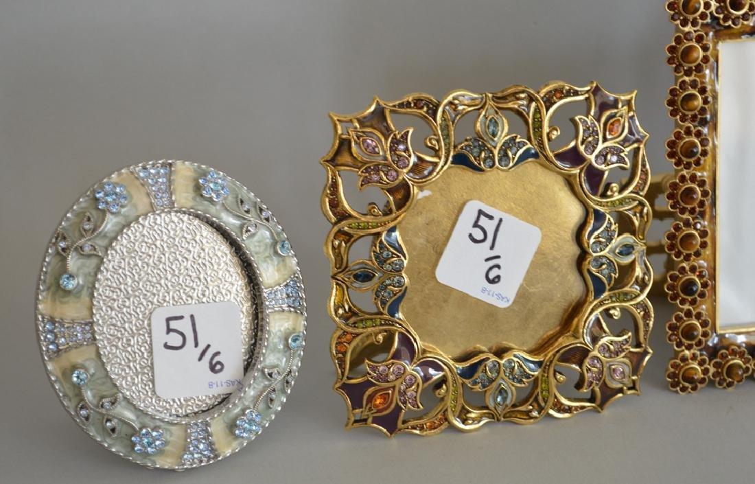 5 Jay Strongwater enamel frames, each signed, tallest - 4