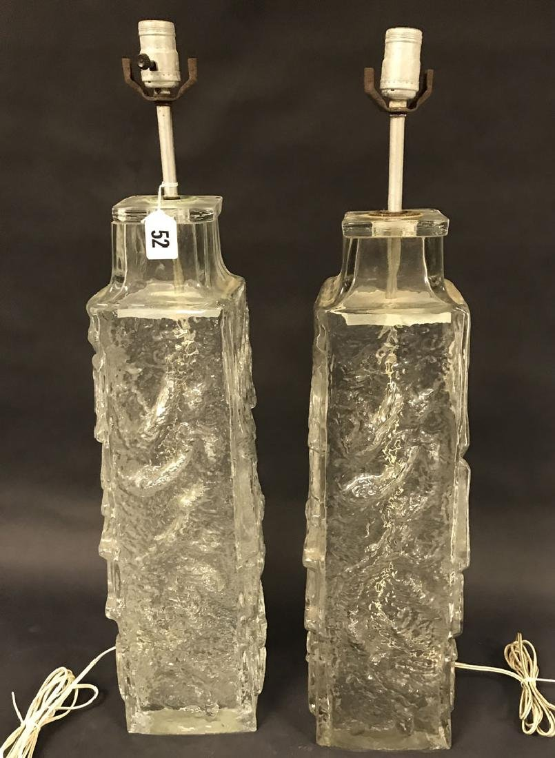 Vintage Studio cylindrical form glass lamps, rusty
