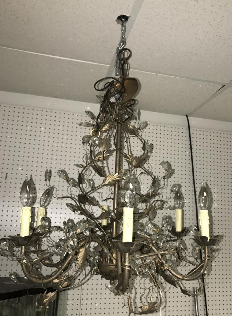 Gilt metal 6 light chandelier with prisms, vine motif - 2
