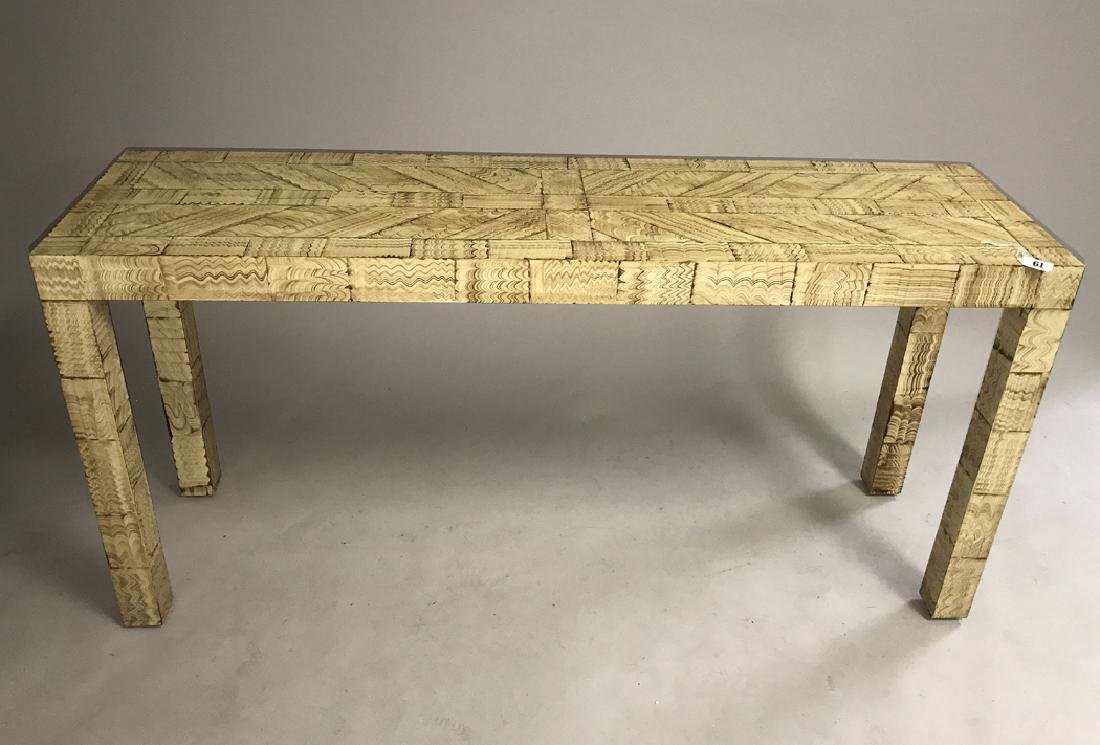 Parsons table with painted decoration, 27h x 56w x 15d
