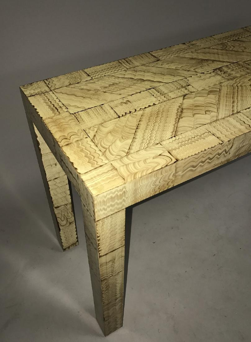 Parsons table with painted decoration, 27h x 56w x 15d - 2