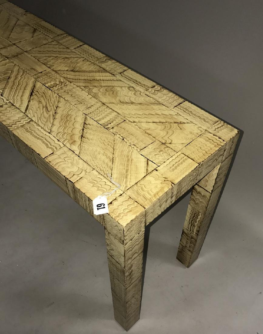 Parsons table with painted decoration, 27h x 56w x 15d - 4