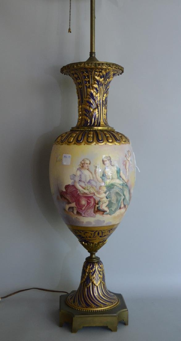 Sevres Porcelain hand painted urn form lamp.  Ht. 37 to - 3