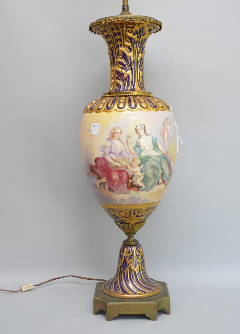 Sevres Porcelain hand painted urn form lamp.  Ht. 37 to - 4