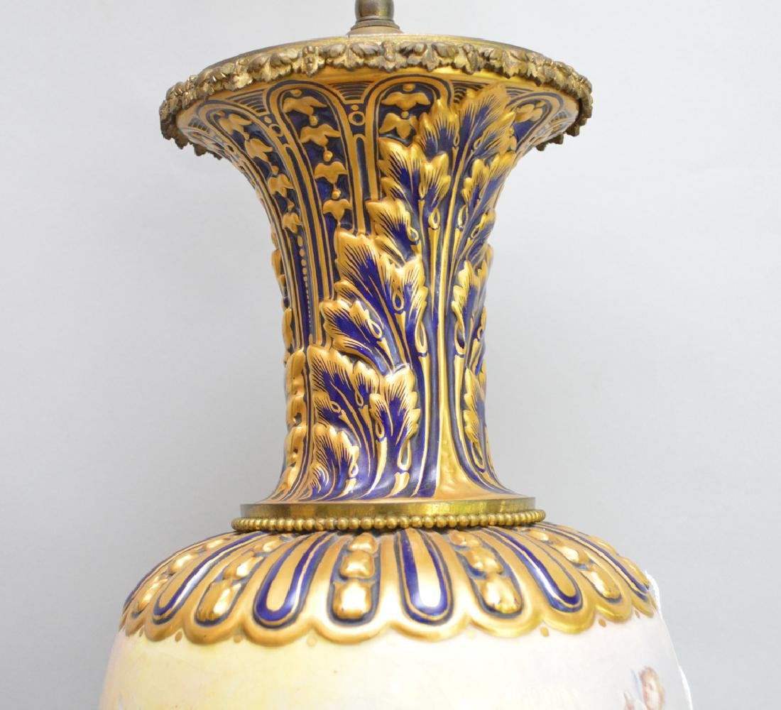 Sevres Porcelain hand painted urn form lamp.  Ht. 37 to - 5