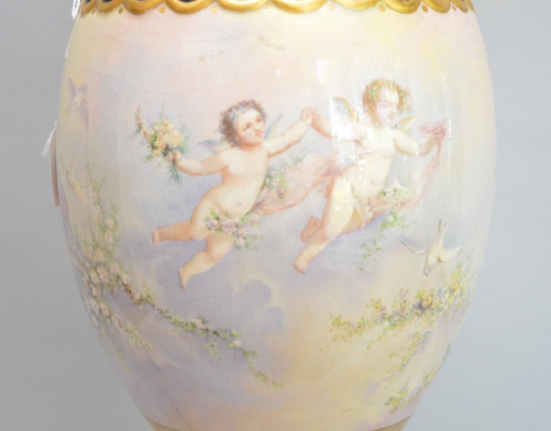 Sevres Porcelain hand painted urn form lamp.  Ht. 37 to - 7