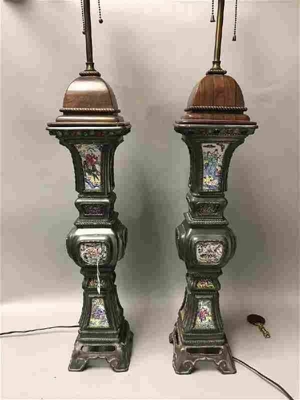 Pair Chinese lamps, silvered metal with enameled plaque