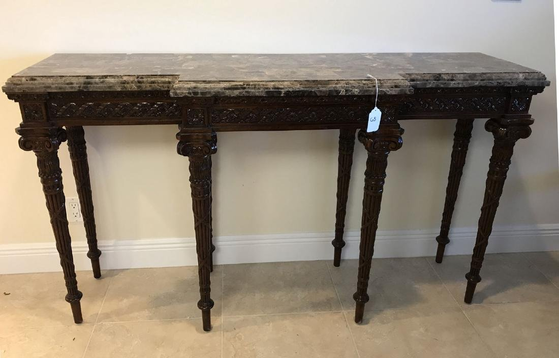 Maitland Smith mahogany console table with marble top,