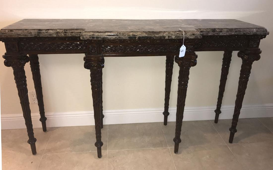 Maitland Smith mahogany console table with marble top, - 2