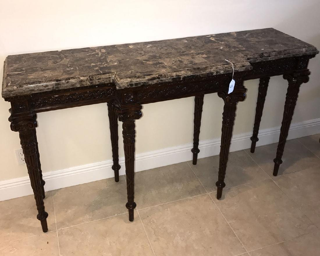 Maitland Smith mahogany console table with marble top, - 3