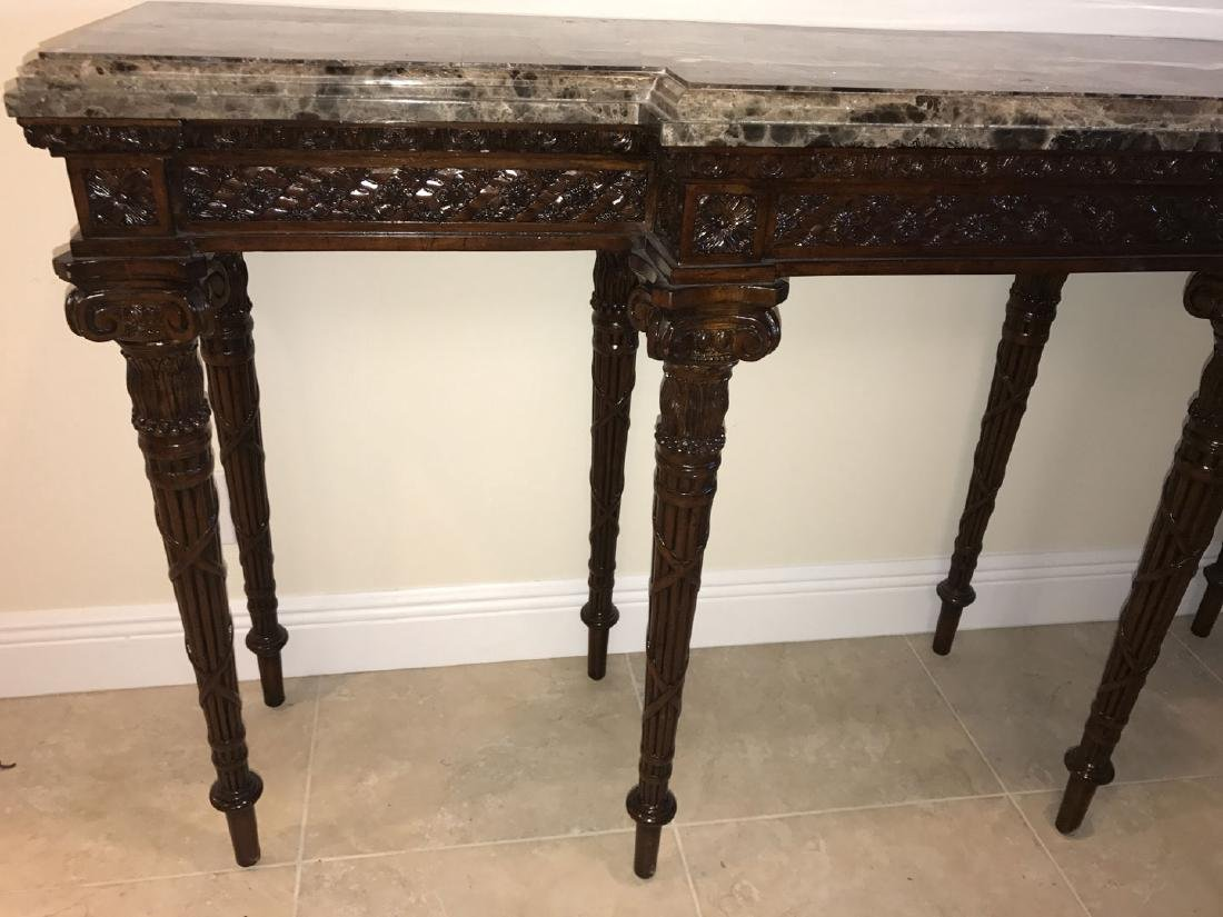 Maitland Smith mahogany console table with marble top, - 4
