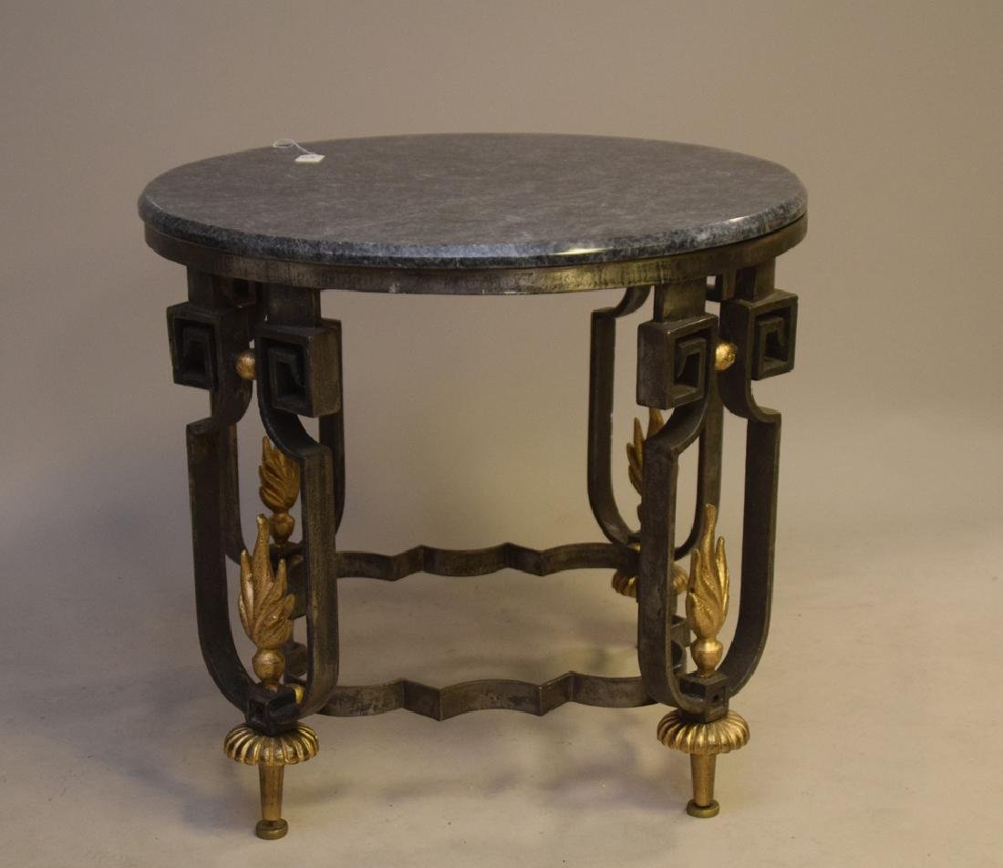 Cast iron lamp table with marble top, each leg with