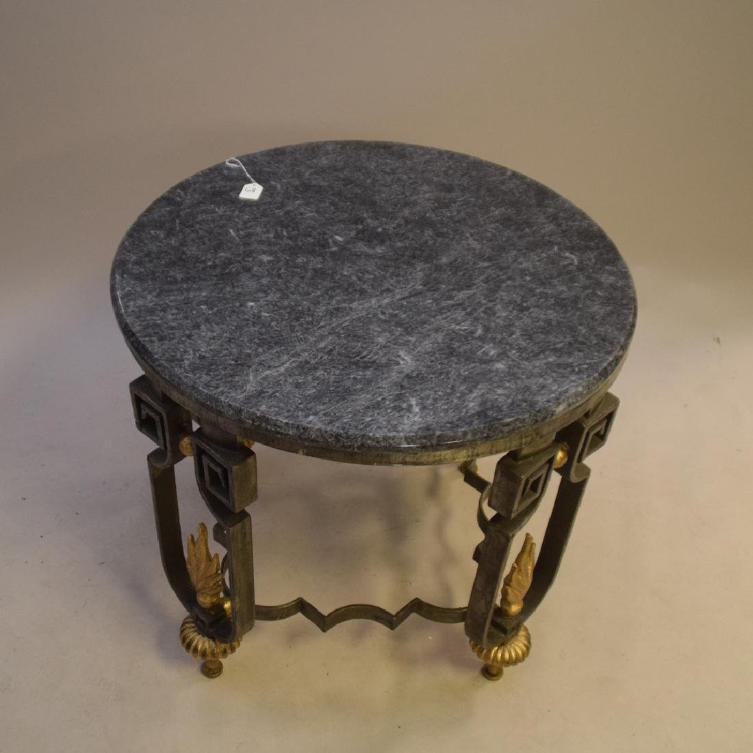 Cast iron lamp table with marble top, each leg with - 2