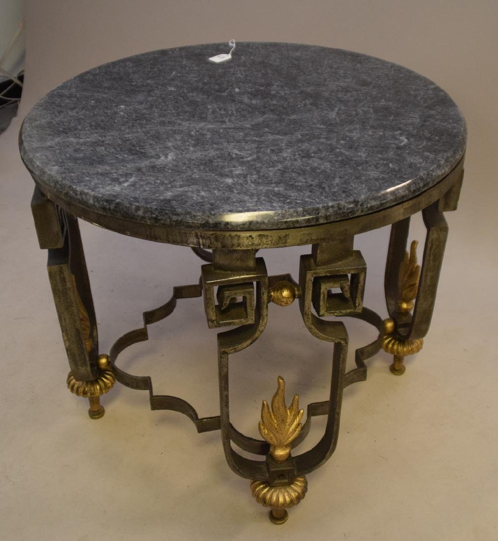 Cast iron lamp table with marble top, each leg with - 3