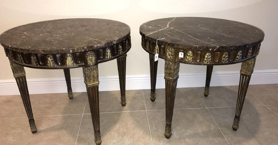 Pair carved mahogany & gilded circular lamp tables with - 2