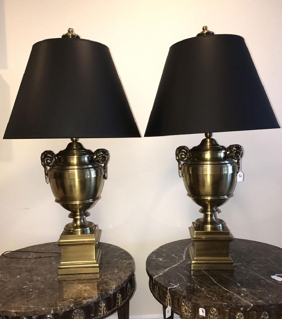 Pair brass urn form lamps each with bamboo form - 2