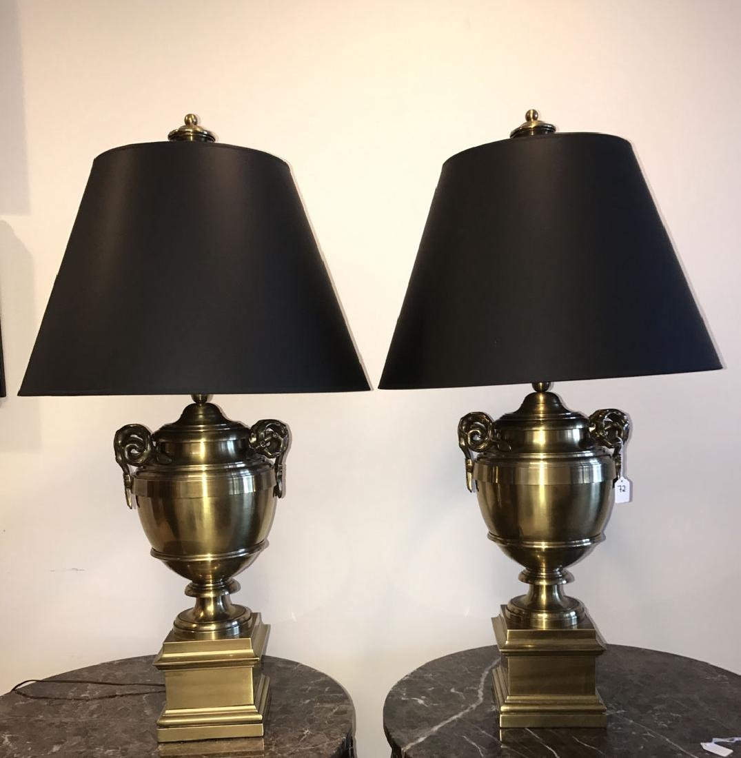 Pair brass urn form lamps each with bamboo form - 3